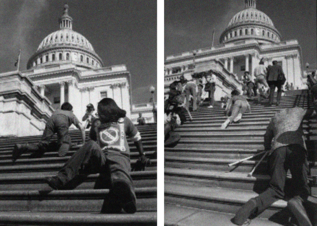 """Disability activists participating in the """"Capital Crawl"""" on March 12, 1990."""